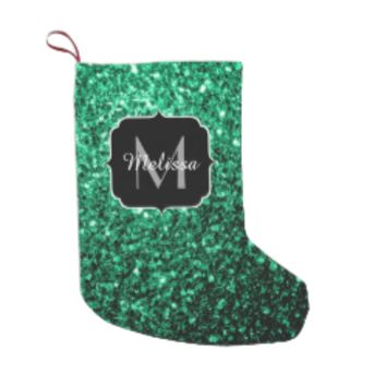 Beautiful Emerald Green glitter sparkles Monogram Small Christmas Stocking