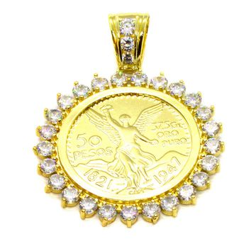 (1-2421-j6) Gold Overlay Mexican Coin Pendant, 50mm.
