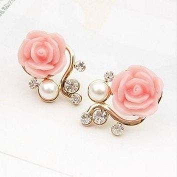 ONETOW New Fashion 18K Gold Plated Cute Sweet Rose Shaped Artificial Pearl and Diamond Stud Earrings for Women Ladies Girls = 1933053316