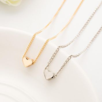 1 pieces Trendy Tiny Heart Short Pendant Necklace Women Gold/Silver Chain Lover Lady Girl Gifts Bijoux Jewelry