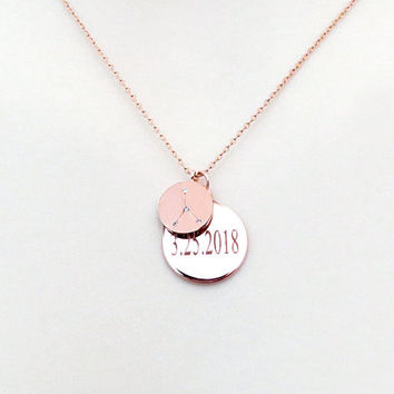 Personal, Date, Disc, Cubic, Zodiac, 12 signs, Gold, Silver, Rose gold, Necklace, Lovers, Friends, Mom, Sister, Gift