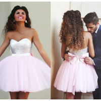 Hot Sale Sweetheart Sequins A-line Pink Short Prom Dresses Custom Made Cheap Fast Shipping Party Gowns