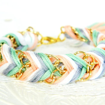 Iced Mint & Peaches  Peachy Keen Pearl Platinum  Mint  by HelloZee