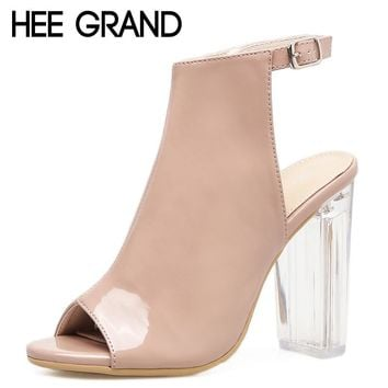 HEE GRAND Women Ankle Pumps 2018 Crystal High Heels Peep Toe PU Leather Shoes Women For Summer Party Shoes Size 35-40 XWZ4695