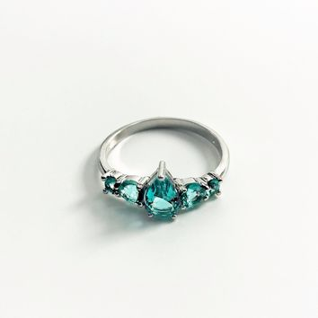 Blue Topaz CZ Sterling Silver Ring