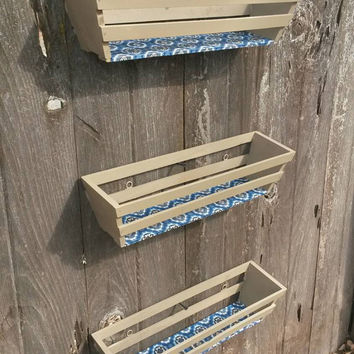 Set of 3 Hanging Crates Bathroom Storage Vertical or Horizontal Wood Shelves Baskets Bedroom Decor Towel Storage Hand Painted Wall Shelf