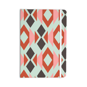 "Pellerina Design ""Coral Mint Triangle Weave"" Orange Teal Everything Notebook"