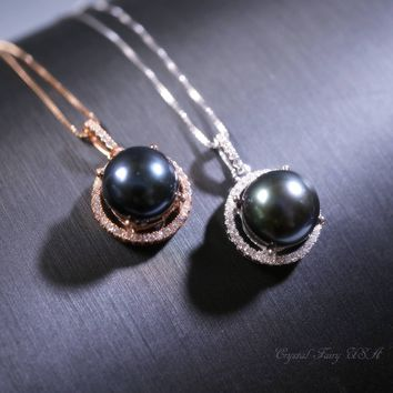 Genuine Black Pearl Necklace, Rose Gold ove 925 Sterling Silver Box Chain Black Pearl Jewelry, Solitaire Halo CZ Stone Large Pearl Pendant