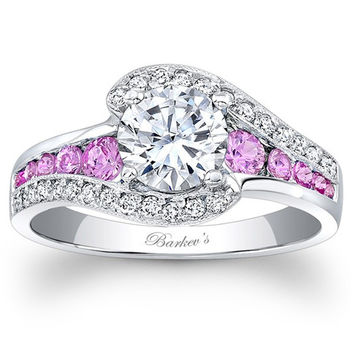 "Barkev's Pink Sapphire ""Halo Swirl"" Diamond Engagement Ring"