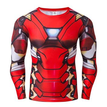 Ironman 3D Printed T-shirts Mens Long Sleeve Compression Shirts Avenger Clothing Tops Male Superhero Cosplay Costumes Spring