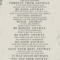 Mother Teresa Do it Anyway DISTRESSED worn paper look STOCK Art  PRINT 11x14  (no frame included) Geezees