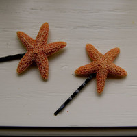 Real Star Fish Bobby Pins by intothelookinglass
