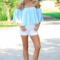 Ooh Girl Blue Off-The-Shoulder Crop Top