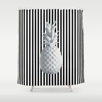 Black and White Anana | #society6 | Pineapple Shower Curtain by Azima