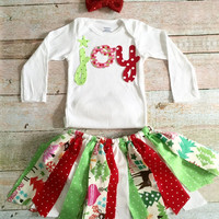 Baby Christmas Outfit - Joy Onsie, Fabric Skirt, Headband, Girl Christmas Outfit, Baby Christmas Skirt, Baby Holiday Outfit, Baby Rag Skirt