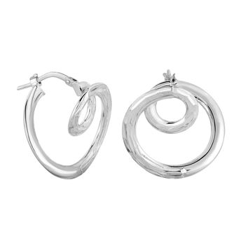 Amanda Rose Double Circle Geometric Hoop Earrings in 14K White Gold