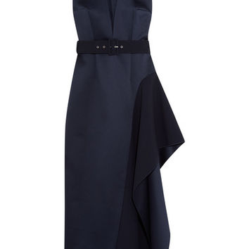 Solace London - Simpson asymmetric belted charmeuse midi dress