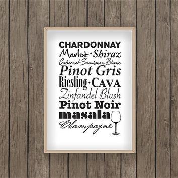 wine print food print kitchen print PDF digital printable bake baking biscuit