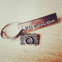 photographer's keychain, camera charm, gift for photographer, i'll shoot you, photographer, photography, funny gift, graduation gift