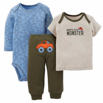 Child Of Mine by Carter's Baby Boy Bodysuit, Tshirt, and Pants Outfit, 3-6M