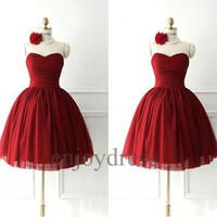 Custom Short Red Bridesmaid Dresses 2014 Lovely Ball Gowns Party Dress Fashion Wedding Party Dress Evening Dresses Homecoming Dresses