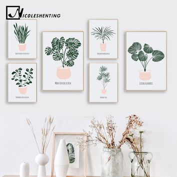 Scandinavian Green Plant Leaf Wall Art Canvas Posters Nordic Style Prints Painting Decorative Pictures Modern Home Decoration