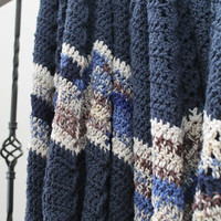 Blue Blanket, Crochet Blanket, Ripple Afghan, Bed Cover, Home Decor, Chevron Blanket, Blue and Coordinating Multi Blanket, Ready to Ship