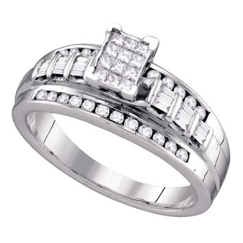 Sterling Silver Womens Princess Diamond Cluster Bridal Wedding Engagement Ring 1/2 Cttw Size 5