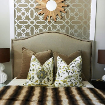 Custom made 'Camelback' Upholstered Headboard with hand applied antique brass decorative nails -DELUXE SERIES