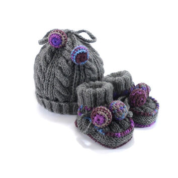 Knitted Baby Hat and Booties - Gray, 3 - 9 month