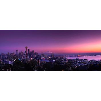 "Seattle Washington Sunset Skyline City Art Fabric poster 32x13""/59x24"""