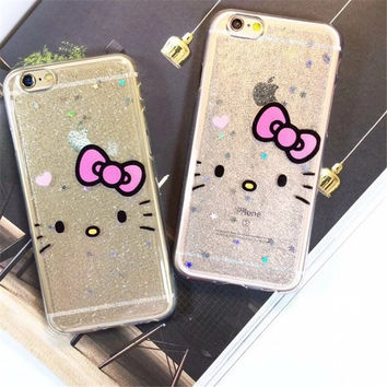 Lovely Glitter Powder Bowknot Hello Kitty Case For iPhone 6 6S plus 7 7plus Bling Cartoon Soft TPU Silicone Shell fundas Coque