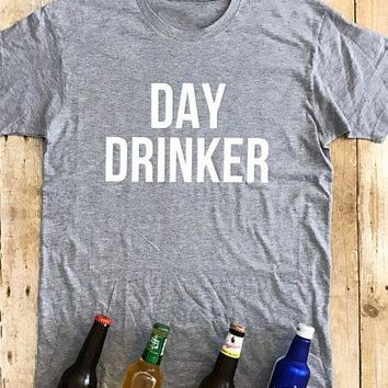 Day Drinker Tumblr Letter Printed T-Shirt Casual Slogan Grunge Tee Girl Gift Vintage Trendy Tops Cotton fashion clothes Outfits