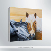 HORSES PAINTING, 6x6in, oil painting, couple horses, animals painting, wall decor,  Stretched canvas, art, illustration, birthday gift