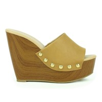 Mark and Maddux Asia-01 Slip-on Platform Wedge Sandal in Tan @ ippolitan.com