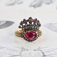Antique Giardinetti Ring, Victorian 18k Enamel and Diamond, French Royalist Crown of Flowers, Foiled Rose Cut Diamond & Gemstones Circa 1840
