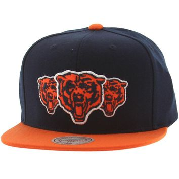 Chicago Bears Triple Stack Logo Snapback Hat By Mitchell & Ness