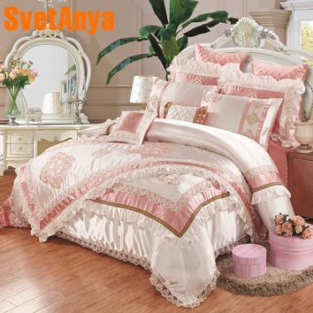 Luxury European style 11pcs bedding bedspread linens high end embroidered silk/cotton fabric King Size duvet cover set bed flag