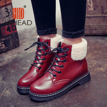 Good Quality  Russia Female Spring Boots women ankle lace-up Shoes Warm Plush Boot UPB07