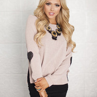 Sequin Heart Patch Sweater Mauve