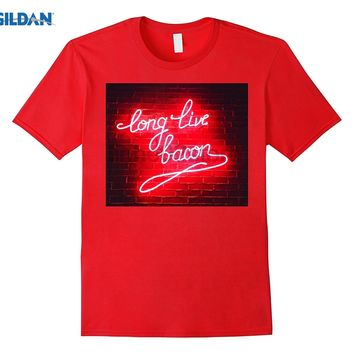 GILDAN Long Live Bacon Funny Neon Electric Foodie Sign Shirt  dress T-shirt