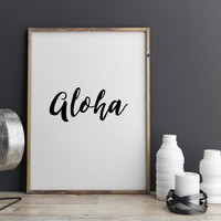 "Hawai Quotes Travel poster ""Aloha"" Typography quotes Inspiring art Wall decor Home art Hawai poster Motivational poster Instant download"