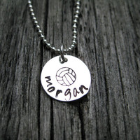 Volleyball Personalized Necklace Sterling Silver Hand Stamped