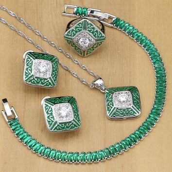 Green Lucite White Zircon Silver 925 Bridal Costume Jewelry Sets For Women Earrings/Pendant/Ring/Stones Bracelet/Necklace Set