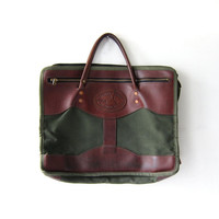 Vintage Army Green & Brown Leather Briefcase Laptop bag. Canvas Hand Bag.