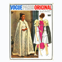 1960s MOD Yves Saint Laurent Evening Cocktail High Waisted A-Line Dress & Cape Vogue 1897 Paris Original Designer Vintage Sewing Patterns