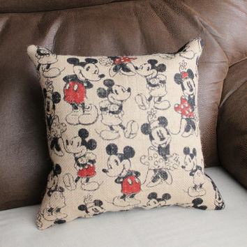 Mickey & Minnie Mouse Burlap Print Pillow with Black Suede Cloth Back
