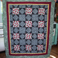 "Star Patterned with Flowers Couch/Lap Quilt.  57-1/2"" X 45-1/2""."
