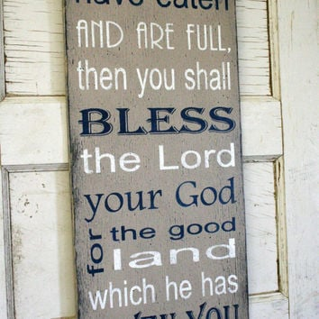 Kitchen Sign Religious Sign Christian Sign Bless The Lord Rustic Sign Distressed Wood Sign Subway Wallhanging Housewarming Gift Tan Decor