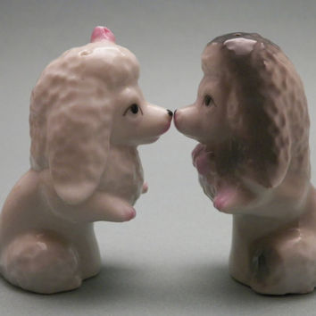 Salt and Pepper Shakers. Poodles. Vintage. Kitchenware. Dog Collectibles. Kissing Dogs. Kissing Poodles. Japan. Japanese Ceramic.